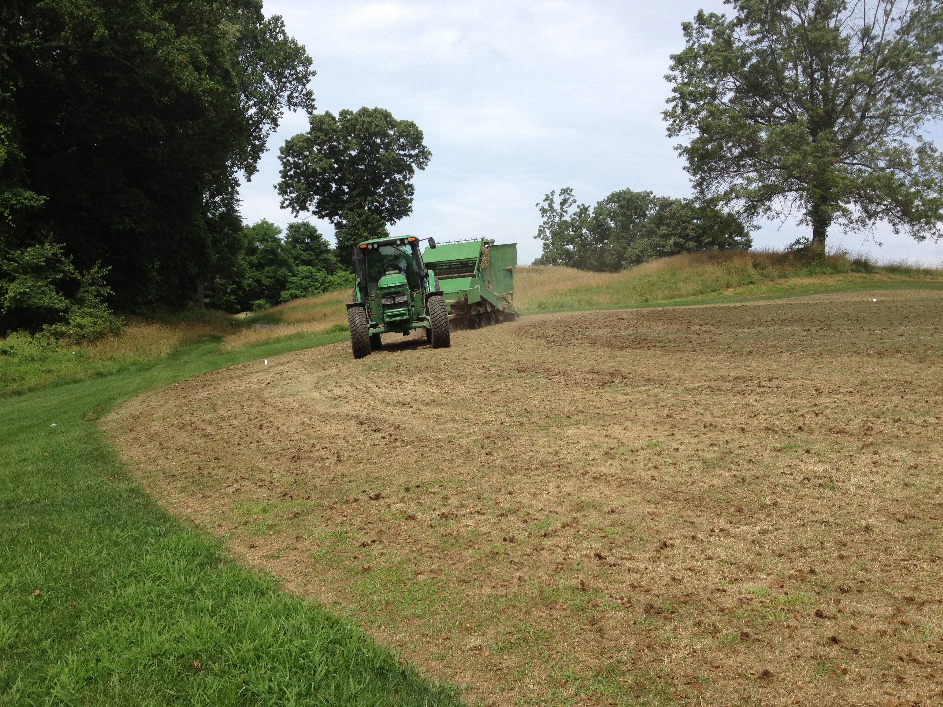 Planting sprigs on a slope