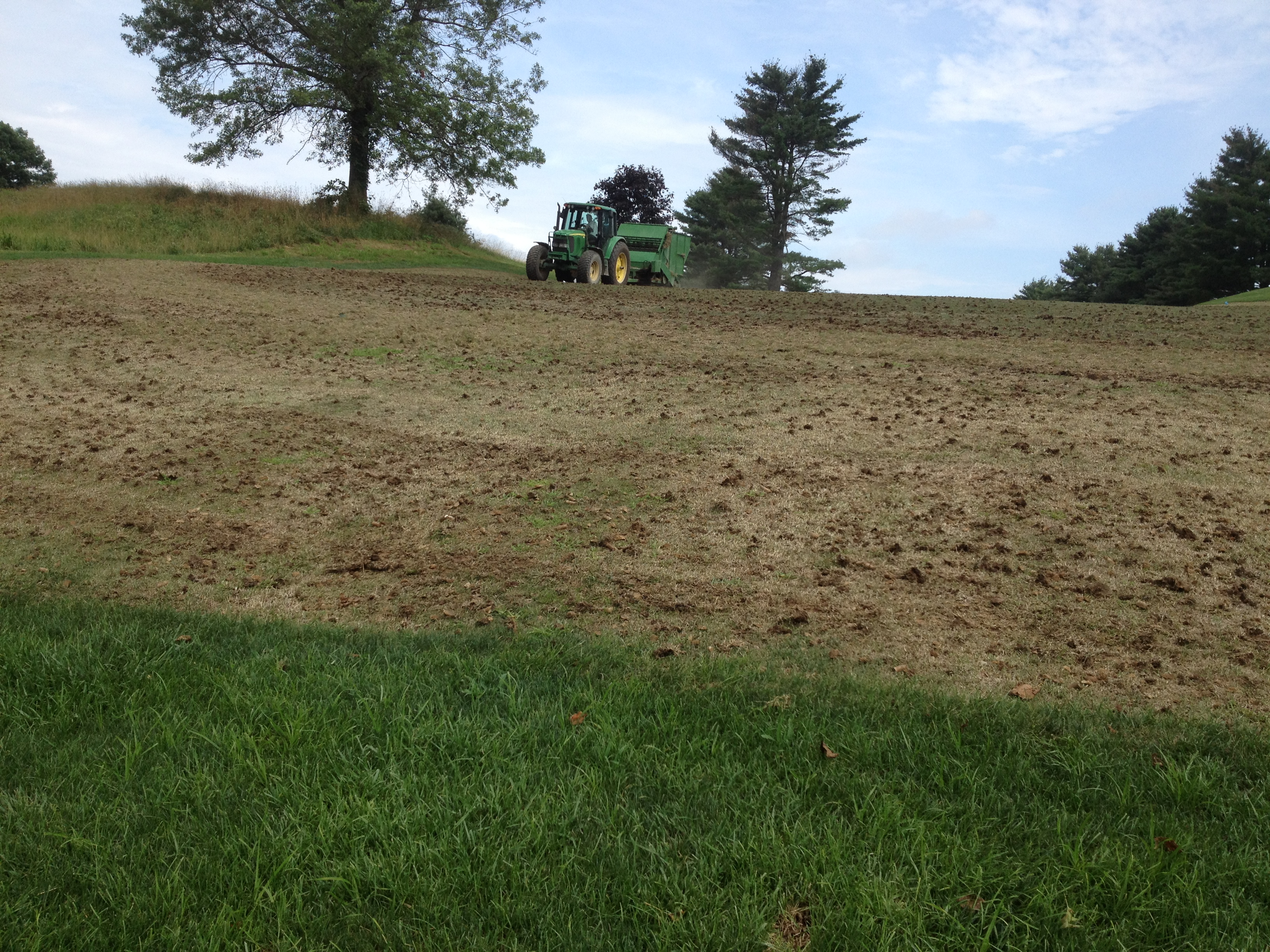 Planting sprigs into a fairway