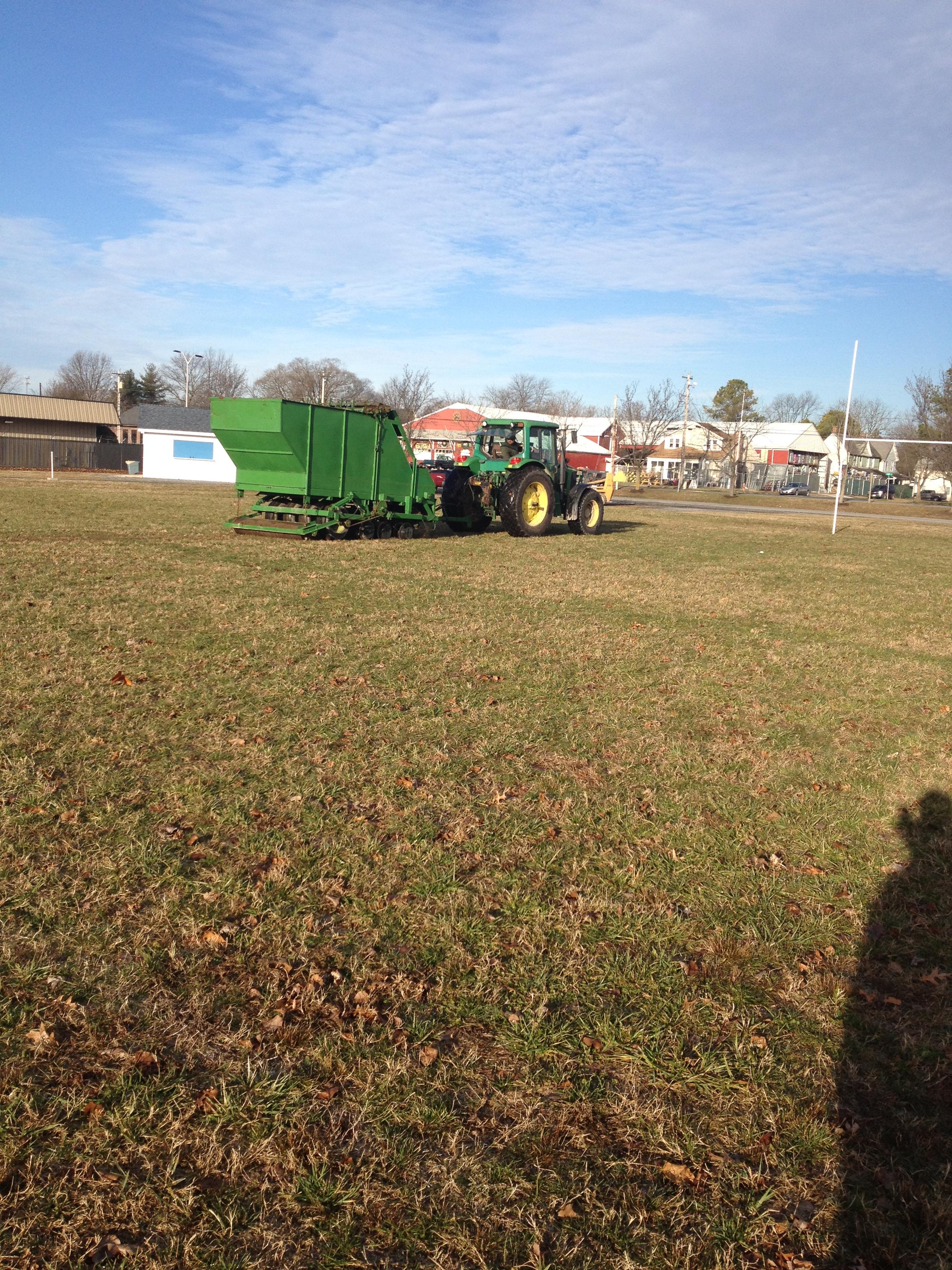dormant sprig planting at Pop Warner football field